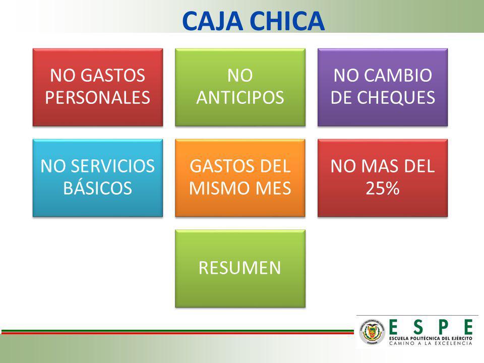 CAJA CHICA NO GASTOS PERSONALES NO ANTICIPOS NO CAMBIO DE CHEQUES