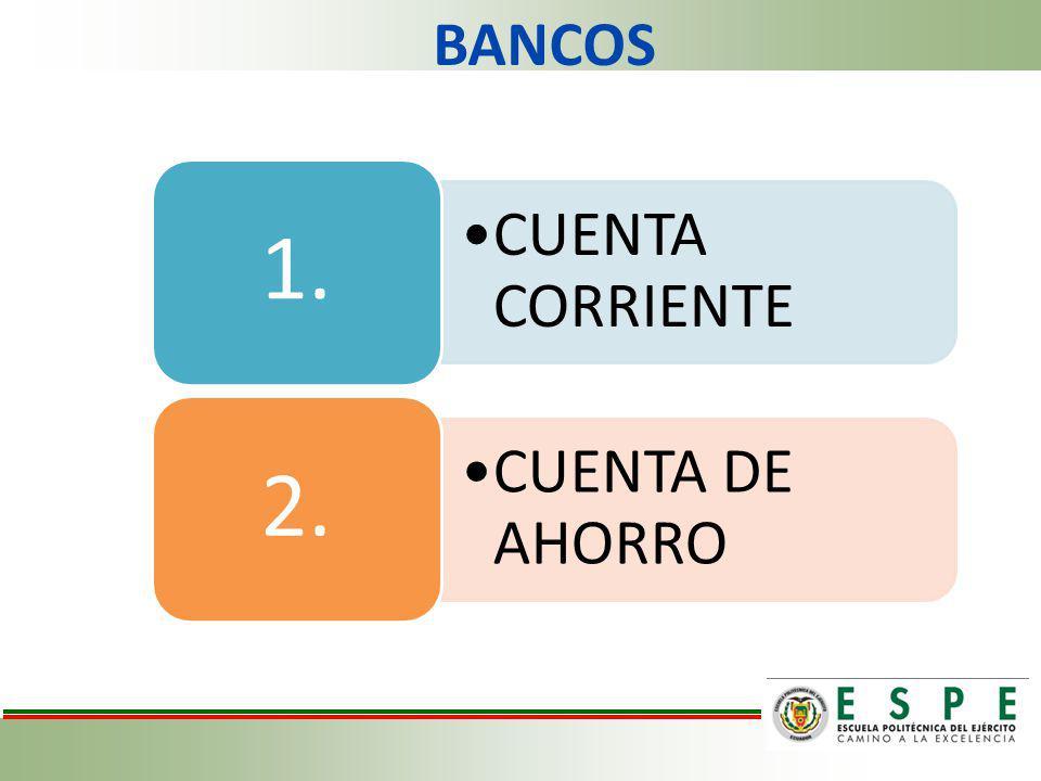 BANCOS 1. CUENTA CORRIENTE 2. CUENTA DE AHORRO