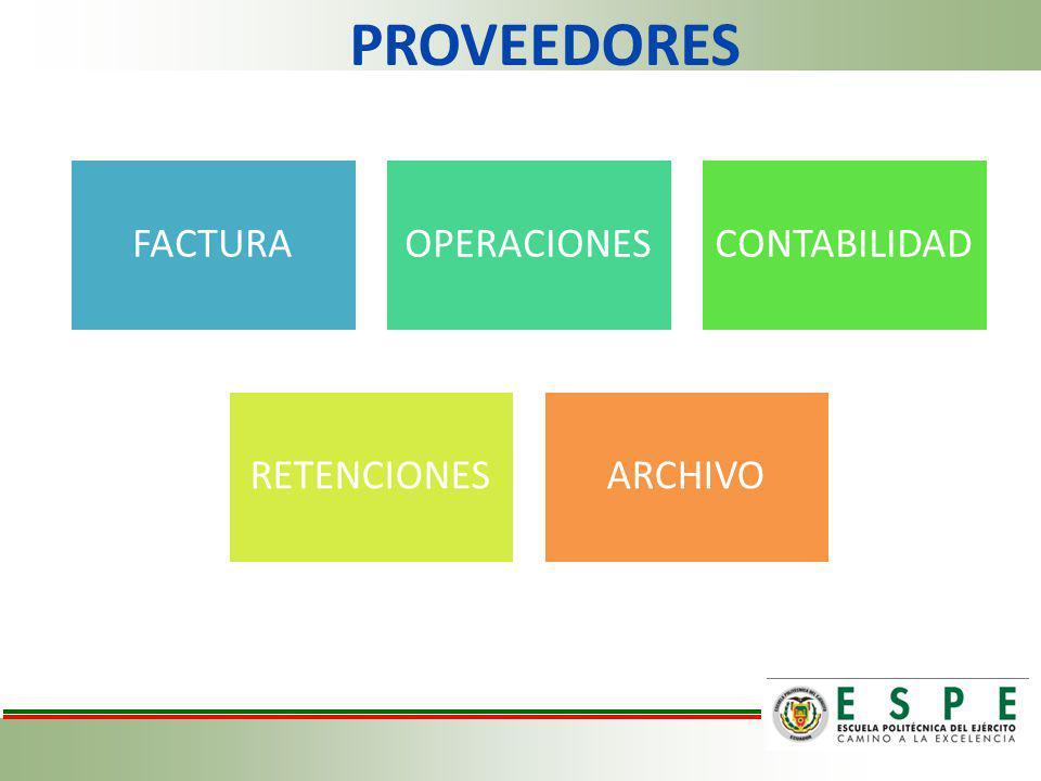 PROVEEDORES FACTURA OPERACIONES CONTABILIDAD RETENCIONES ARCHIVO