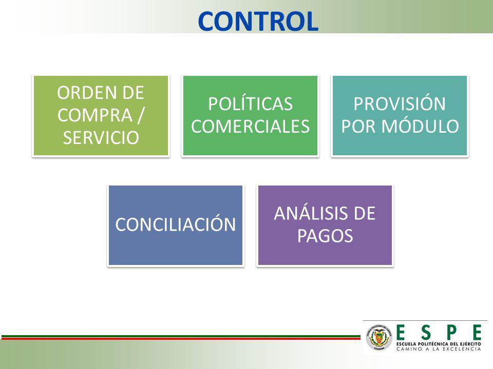 CONTROL ORDEN DE COMPRA / SERVICIO POLÍTICAS COMERCIALES