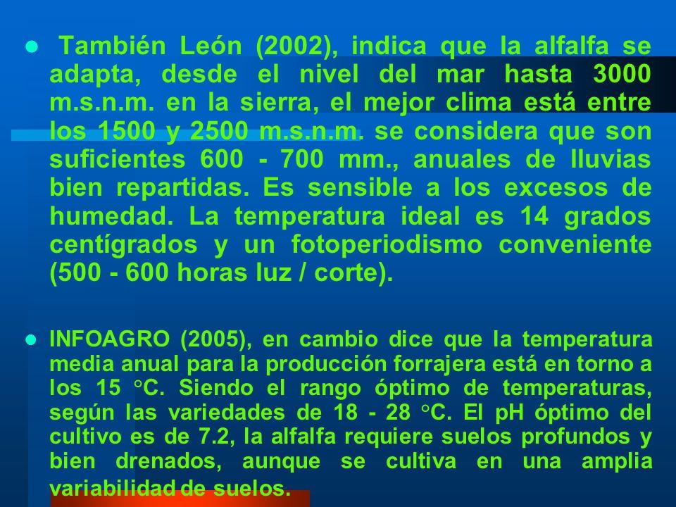 También León (2002), indica que la alfalfa se adapta, desde el nivel del mar hasta 3000 m.s.n.m. en la sierra, el mejor clima está entre los 1500 y 2500 m.s.n.m. se considera que son suficientes 600 - 700 mm., anuales de lluvias bien repartidas. Es sensible a los excesos de humedad. La temperatura ideal es 14 grados centígrados y un fotoperiodismo conveniente (500 - 600 horas luz / corte).