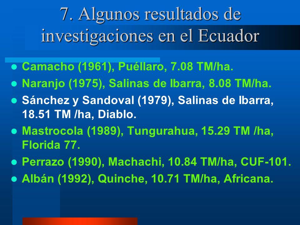 7. Algunos resultados de investigaciones en el Ecuador