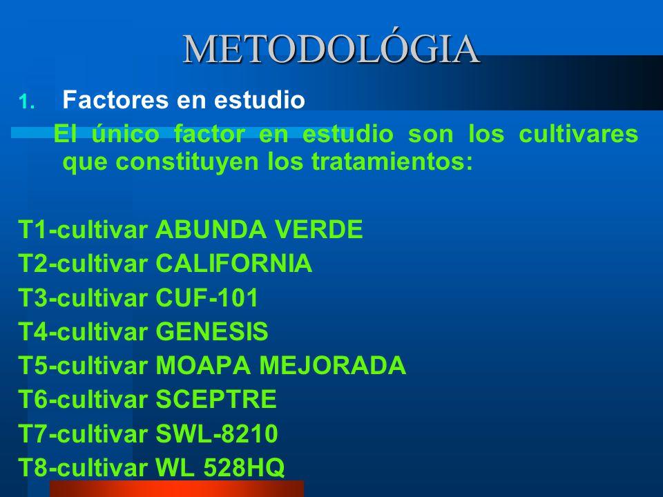 METODOLÓGIA Factores en estudio
