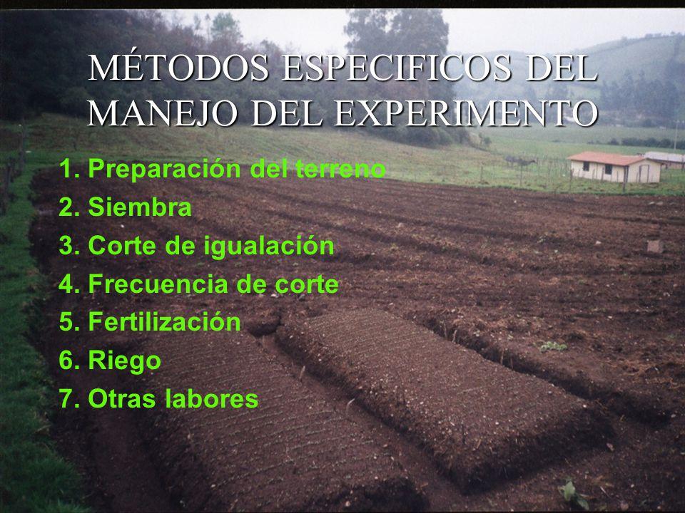 MÉTODOS ESPECIFICOS DEL MANEJO DEL EXPERIMENTO