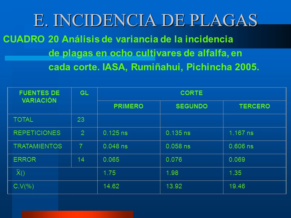 E. INCIDENCIA DE PLAGAS CUADRO 20 Análisis de variancia de la incidencia. de plagas en ocho cultivares de alfalfa, en.