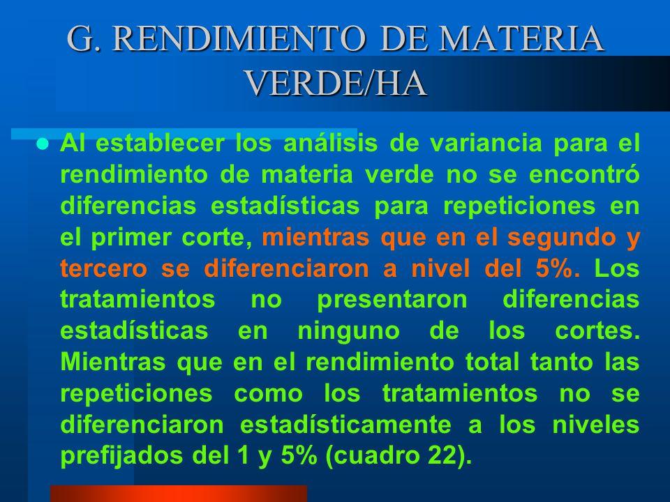 G. RENDIMIENTO DE MATERIA VERDE/HA