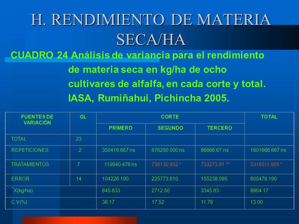 H. RENDIMIENTO DE MATERIA SECA/HA