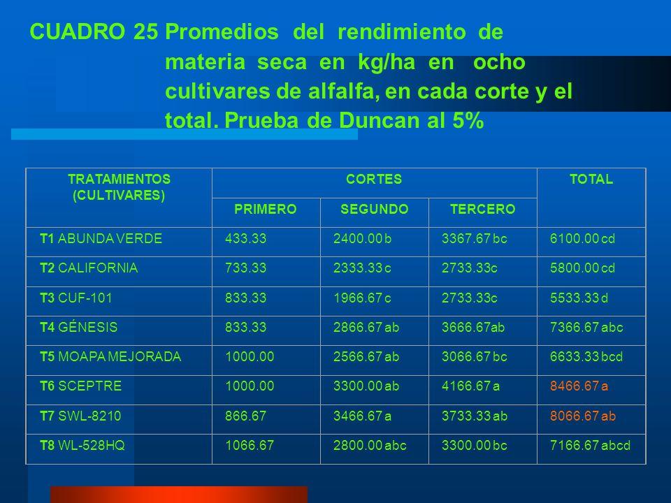 CUADRO 25 Promedios del rendimiento de materia seca en kg/ha en ocho