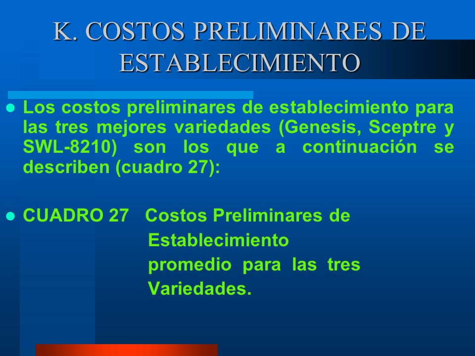 K. COSTOS PRELIMINARES DE ESTABLECIMIENTO