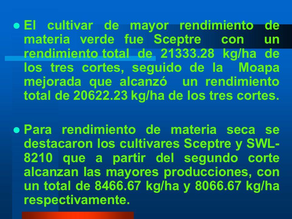 El cultivar de mayor rendimiento de materia verde fue Sceptre con un rendimiento total de 21333.28 kg/ha de los tres cortes, seguido de la Moapa mejorada que alcanzó un rendimiento total de 20622.23 kg/ha de los tres cortes.