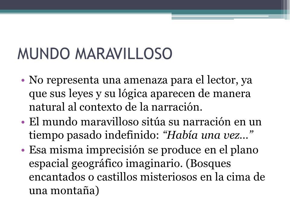MUNDO MARAVILLOSONo representa una amenaza para el lector, ya que sus leyes y su lógica aparecen de manera natural al contexto de la narración.