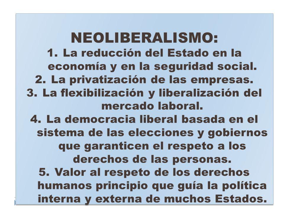 NEOLIBERALISMO: La reducción del Estado en la economía y en la seguridad social. La privatización de las empresas.