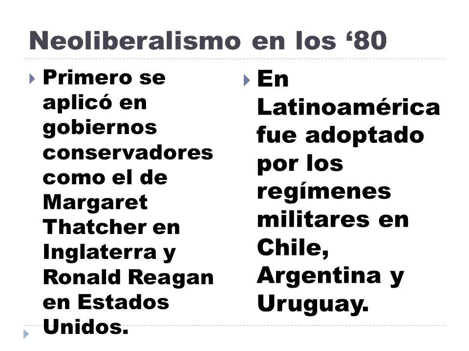 Neoliberalismo en los '80