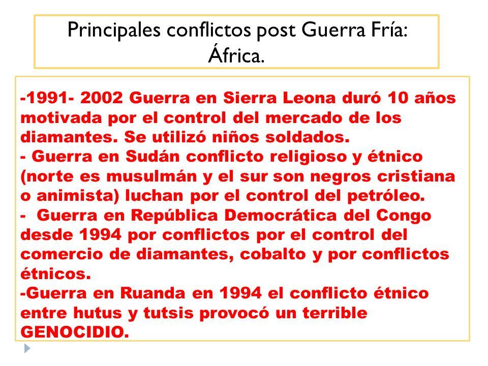 Principales conflictos post Guerra Fría: África.