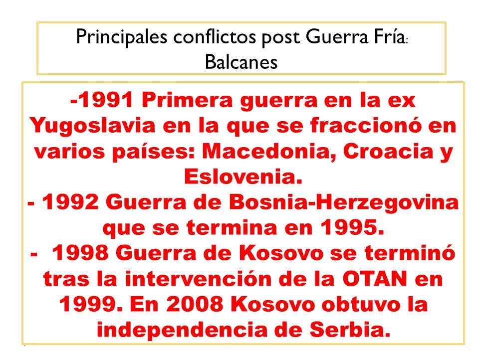 Principales conflictos post Guerra Fría: Balcanes