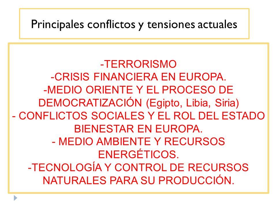 Principales conflictos y tensiones actuales