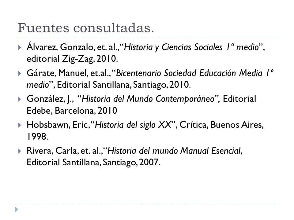 Fuentes consultadas. Álvarez, Gonzalo, et. al., Historia y Ciencias Sociales 1º medio , editorial Zig-Zag, 2010.