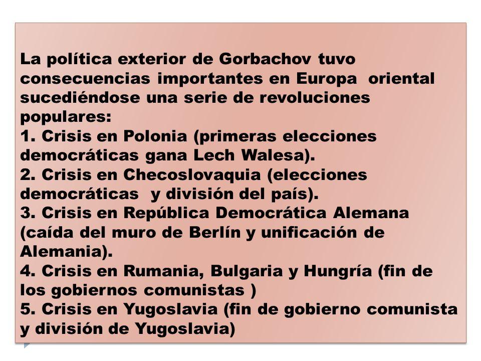 La política exterior de Gorbachov tuvo consecuencias importantes en Europa oriental sucediéndose una serie de revoluciones populares: