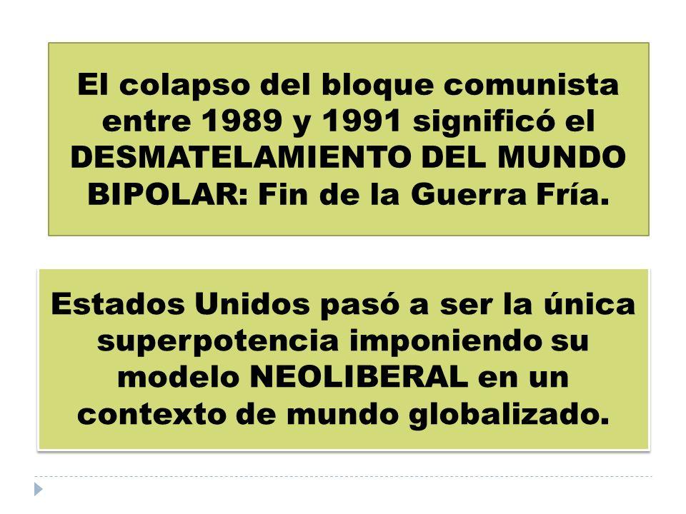 El colapso del bloque comunista entre 1989 y 1991 significó el DESMATELAMIENTO DEL MUNDO BIPOLAR: Fin de la Guerra Fría.