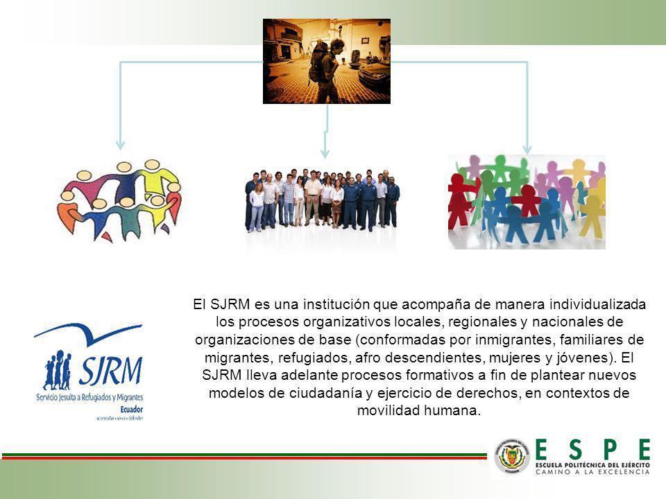 El SJRM es una institución que acompaña de manera individualizada los procesos organizativos locales, regionales y nacionales de organizaciones de base (conformadas por inmigrantes, familiares de migrantes, refugiados, afro descendientes, mujeres y jóvenes). El SJRM lleva adelante procesos formativos a fin de plantear nuevos modelos de ciudadanía y ejercicio de derechos, en contextos de movilidad humana.