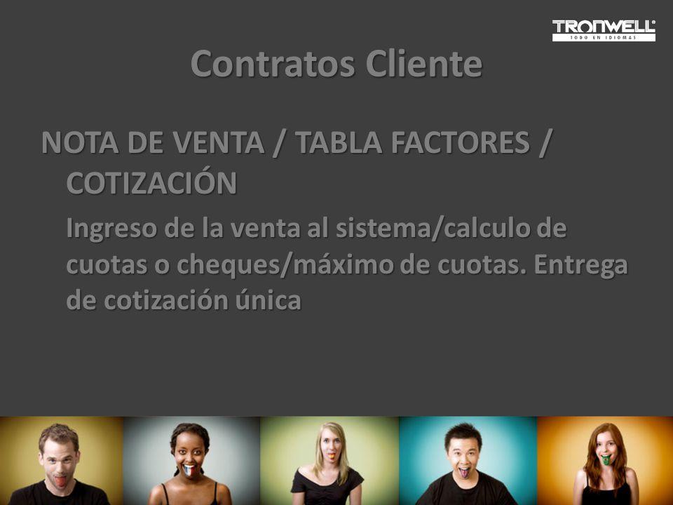 Contratos Cliente NOTA DE VENTA / TABLA FACTORES / COTIZACIÓN