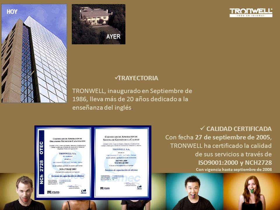 Con fecha 27 de septiembre de 2005, TRONWELL ha certificado la calidad