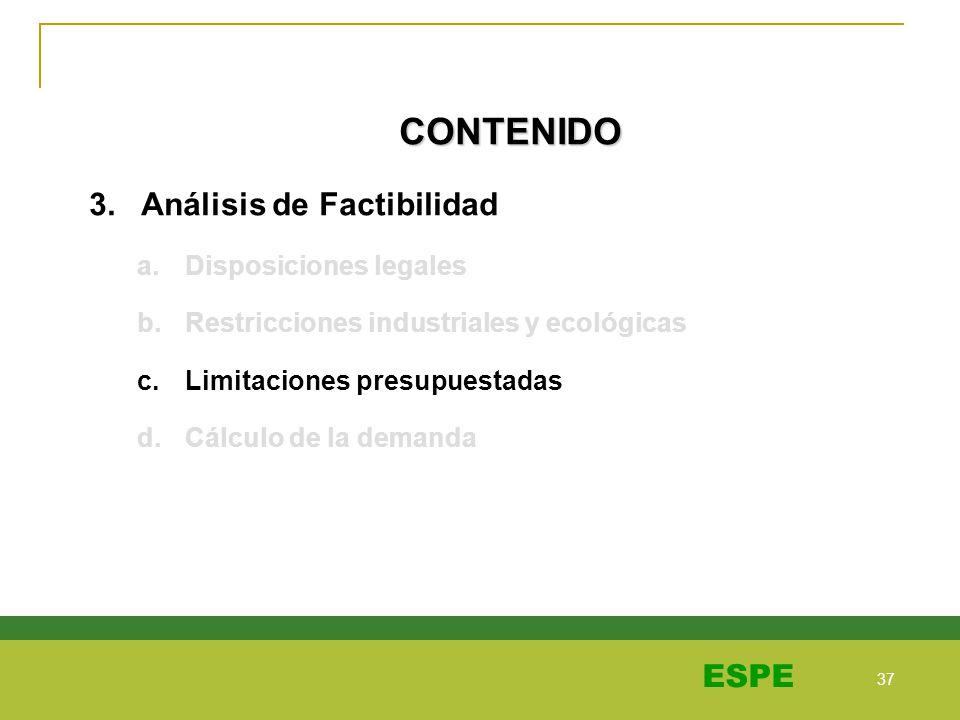 CONTENIDO 3. Análisis de Factibilidad Disposiciones legales