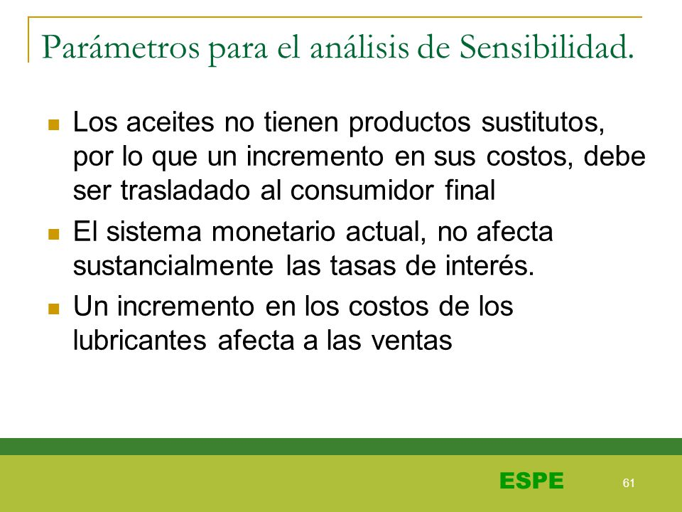 Parámetros para el análisis de Sensibilidad.