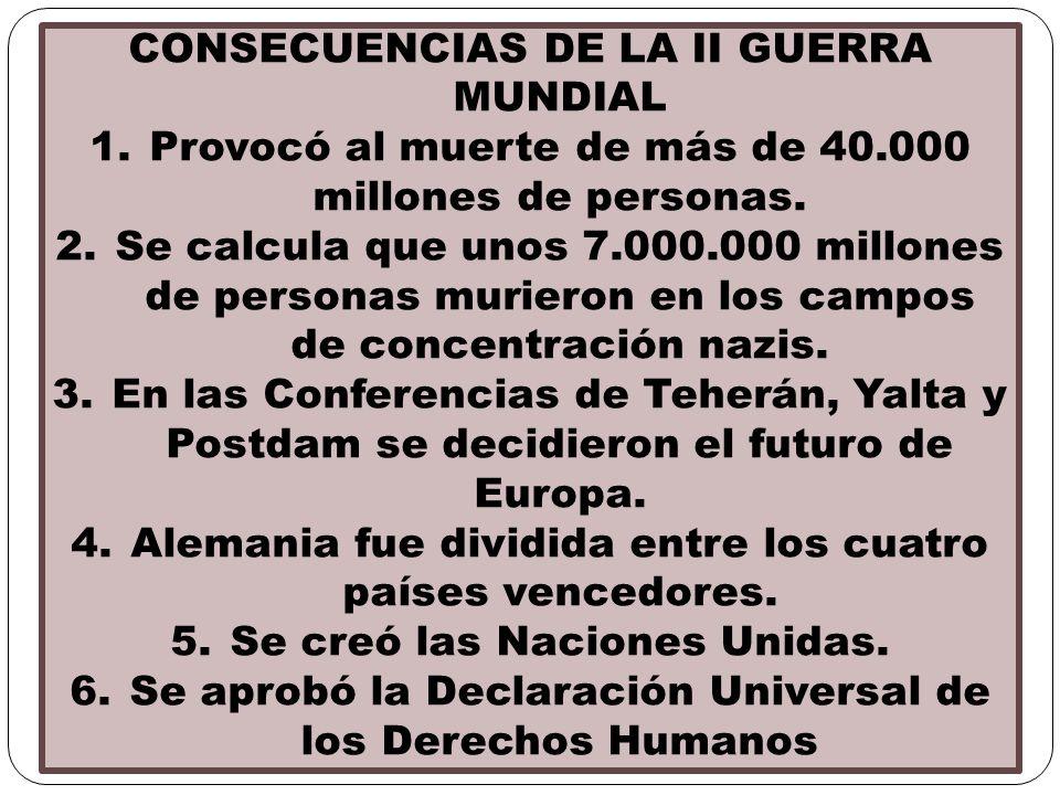 CONSECUENCIAS DE LA II GUERRA MUNDIAL