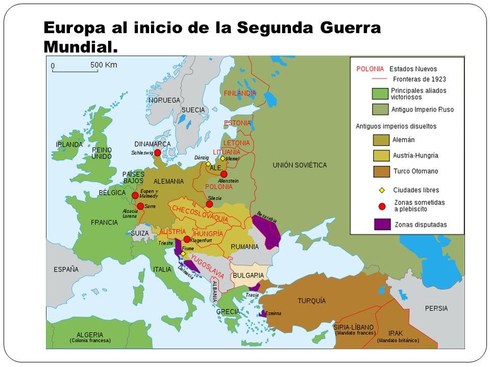 Europa al inicio de la Segunda Guerra Mundial.