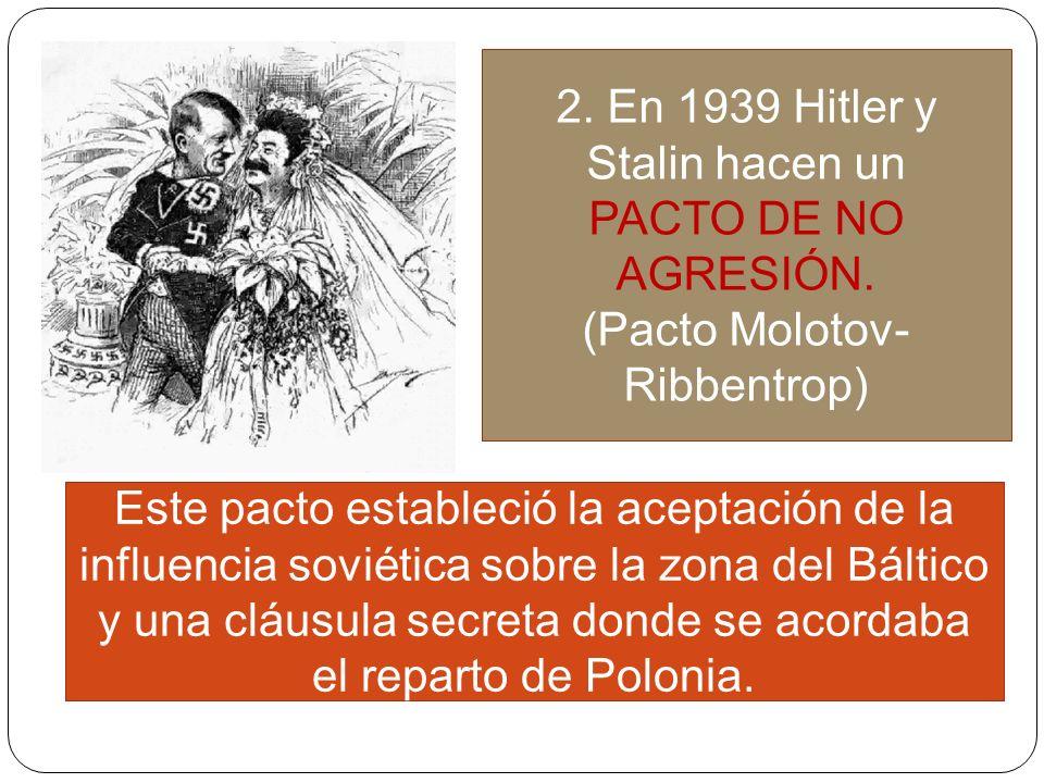 2. En 1939 Hitler y Stalin hacen un PACTO DE NO AGRESIÓN.