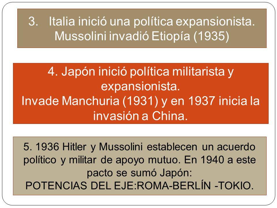 4. Japón inició política militarista y expansionista.