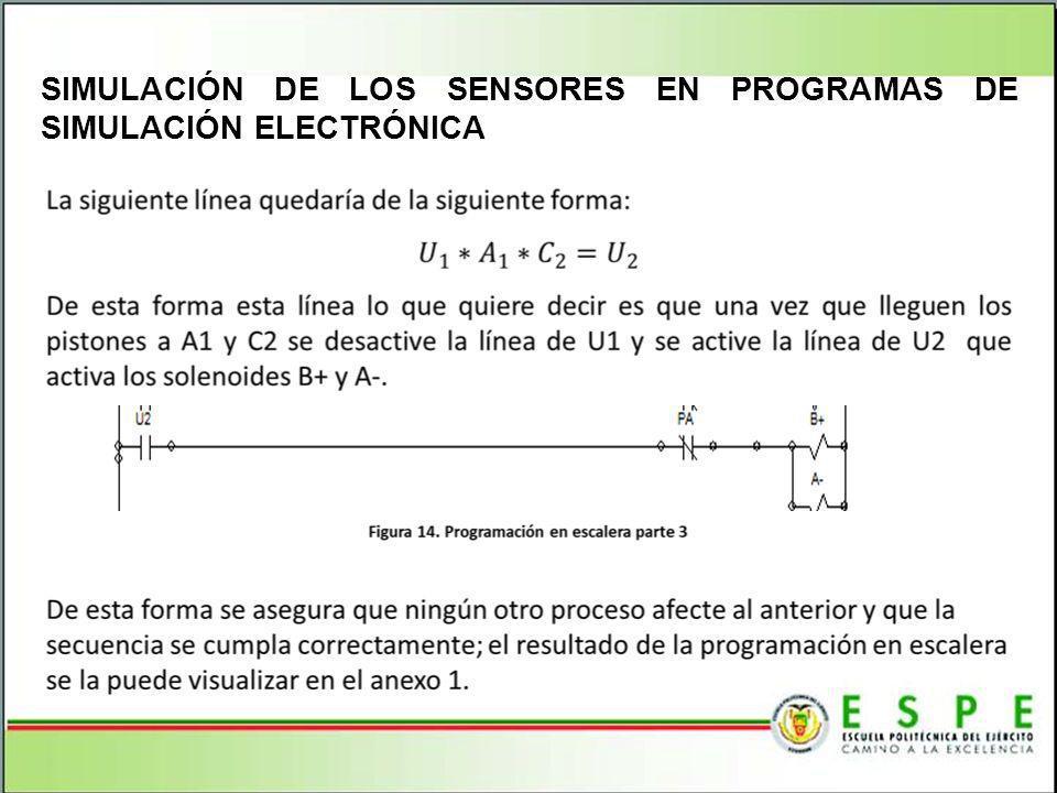 SIMULACIÓN DE LOS SENSORES EN PROGRAMAS DE SIMULACIÓN ELECTRÓNICA