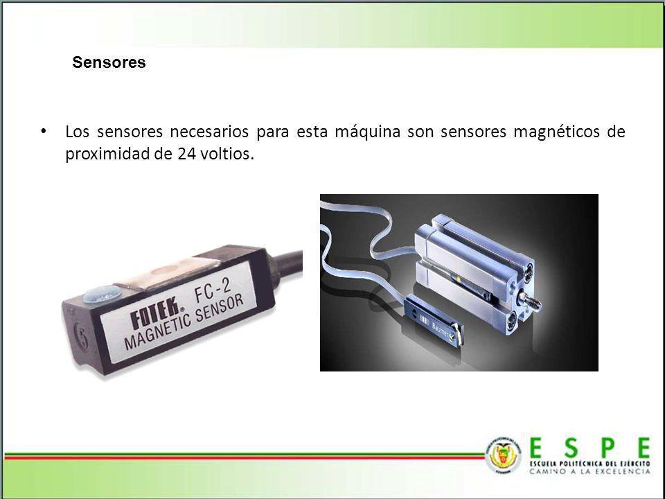 Sensores Los sensores necesarios para esta máquina son sensores magnéticos de proximidad de 24 voltios.