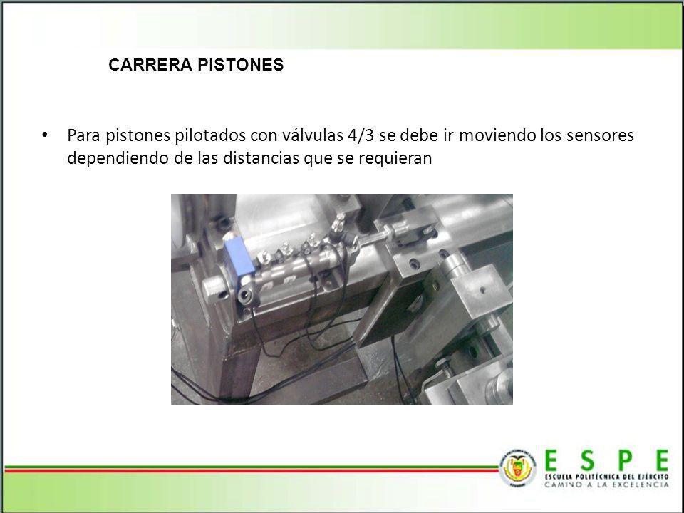CARRERA PISTONES Para pistones pilotados con válvulas 4/3 se debe ir moviendo los sensores dependiendo de las distancias que se requieran.