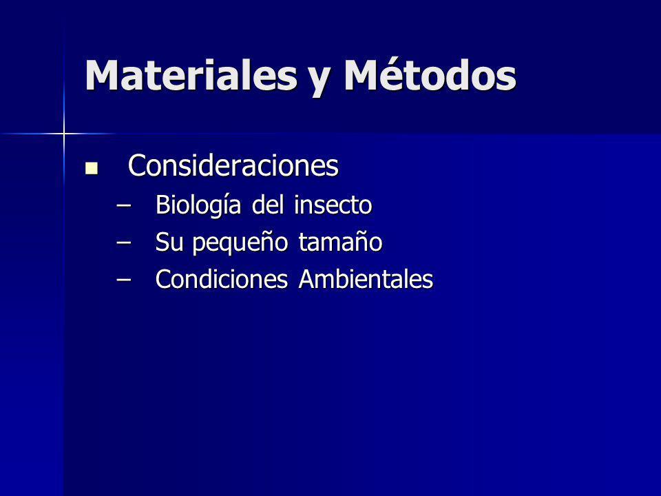 Materiales y Métodos Consideraciones Biología del insecto
