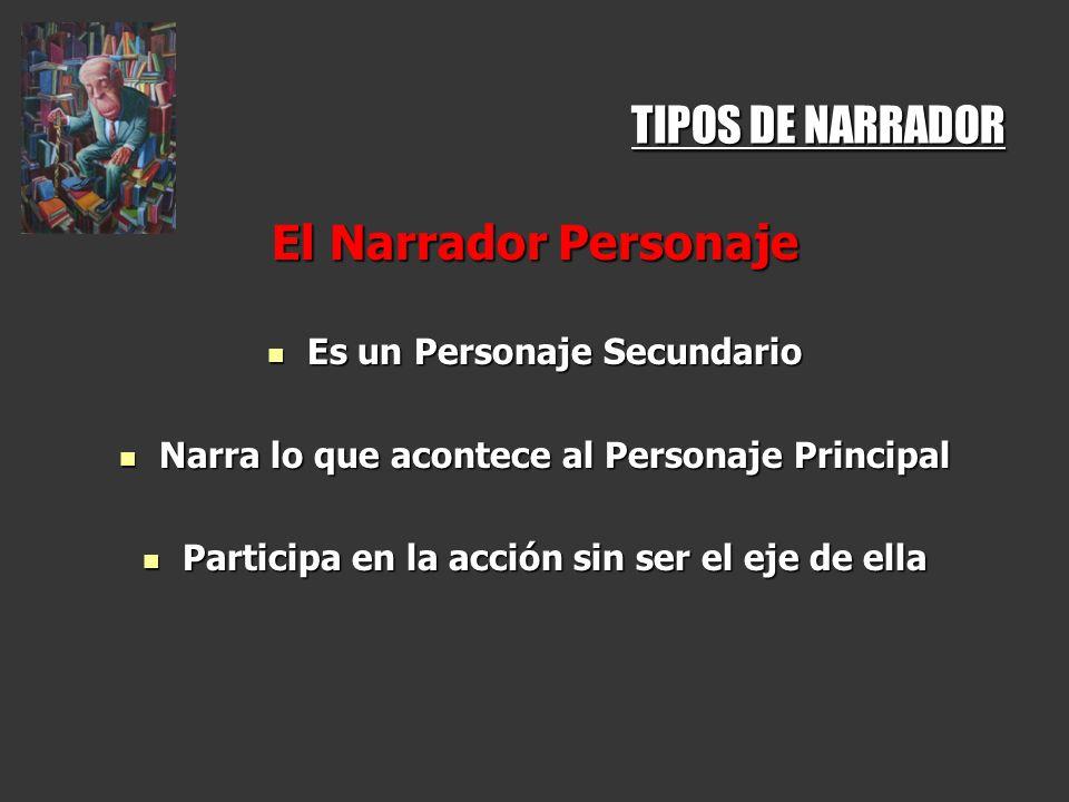 TIPOS DE NARRADOR El Narrador Personaje Es un Personaje Secundario