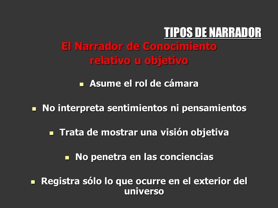 TIPOS DE NARRADOR El Narrador de Conocimiento relativo u objetivo