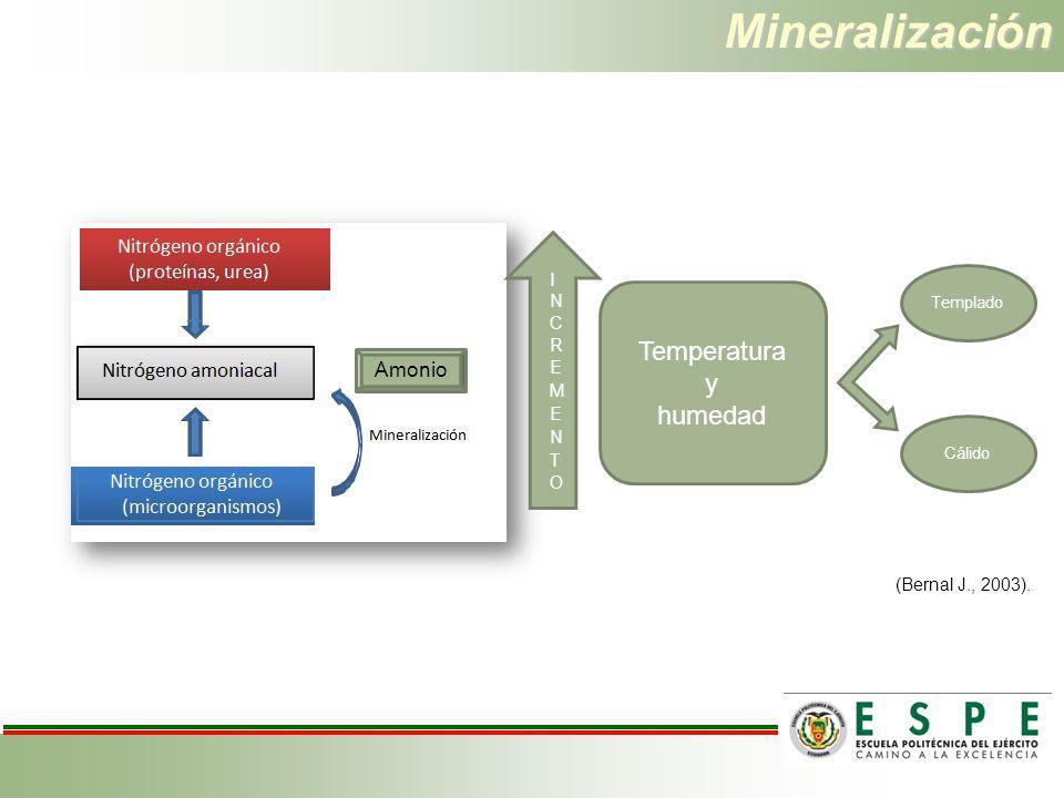 Mineralización Temperatura y humedad Amonio INCREMENTO