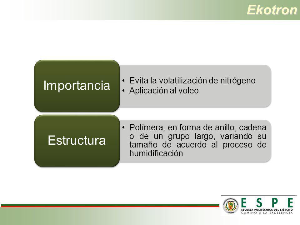 Ekotron Importancia Evita la volatilización de nitrógeno