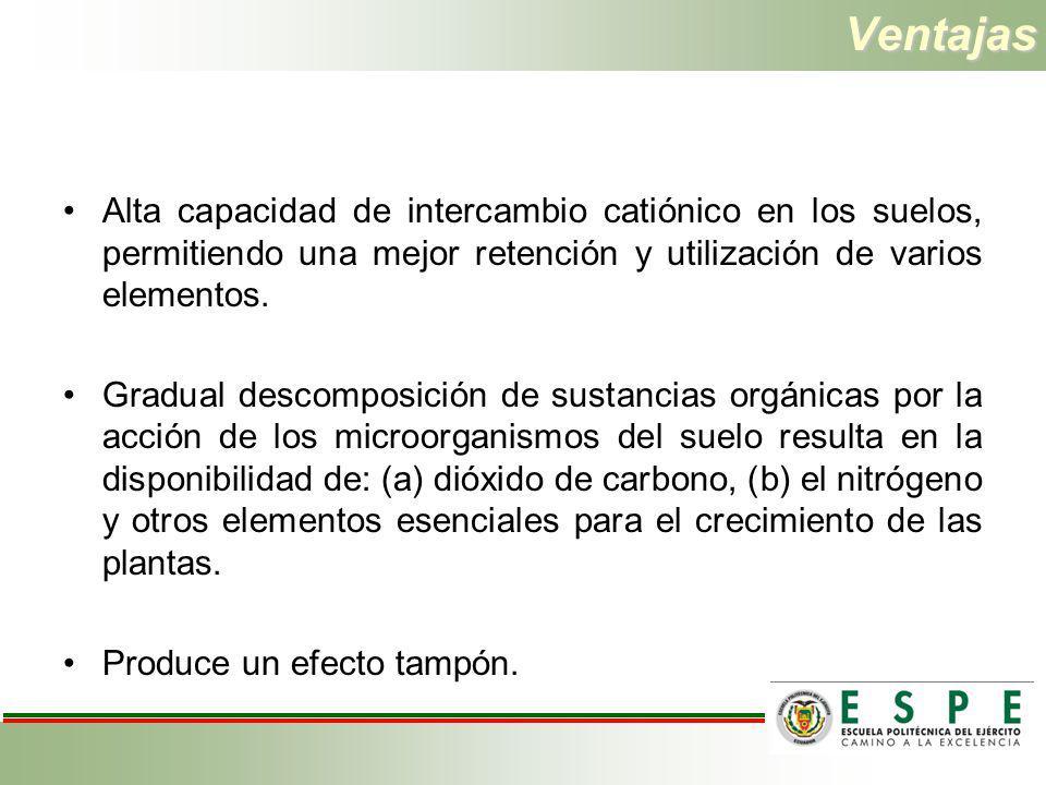 Ventajas Alta capacidad de intercambio catiónico en los suelos, permitiendo una mejor retención y utilización de varios elementos.