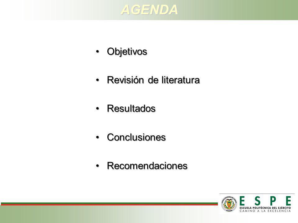 AGENDA Objetivos Revisión de literatura Resultados Conclusiones