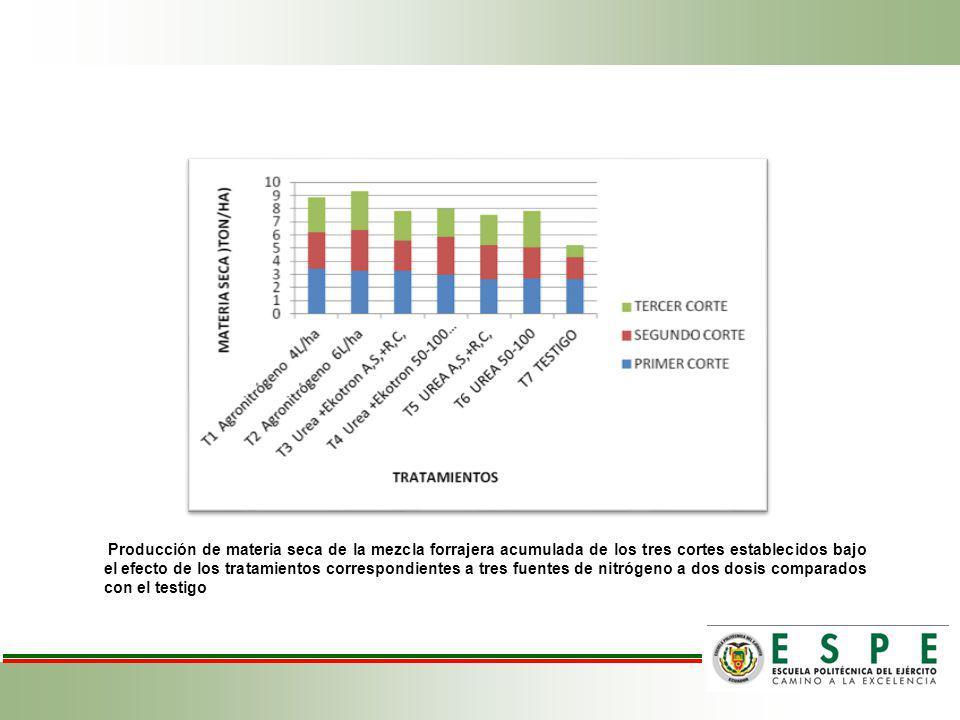 Producción de materia seca de la mezcla forrajera acumulada de los tres cortes establecidos bajo el efecto de los tratamientos correspondientes a tres fuentes de nitrógeno a dos dosis comparados con el testigo