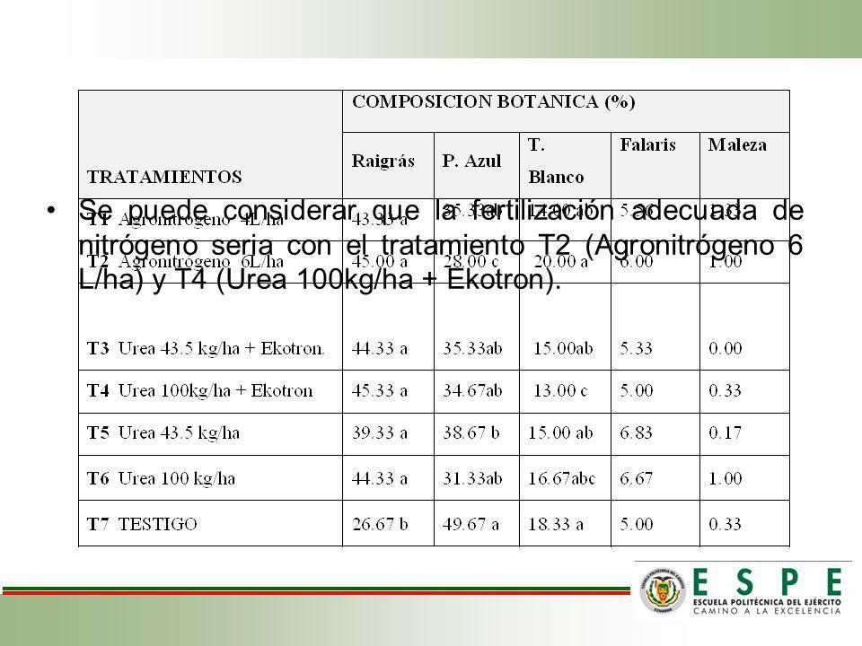 Se puede considerar que la fertilización adecuada de nitrógeno seria con el tratamiento T2 (Agronitrógeno 6 L/ha) y T4 (Urea 100kg/ha + Ekotron).