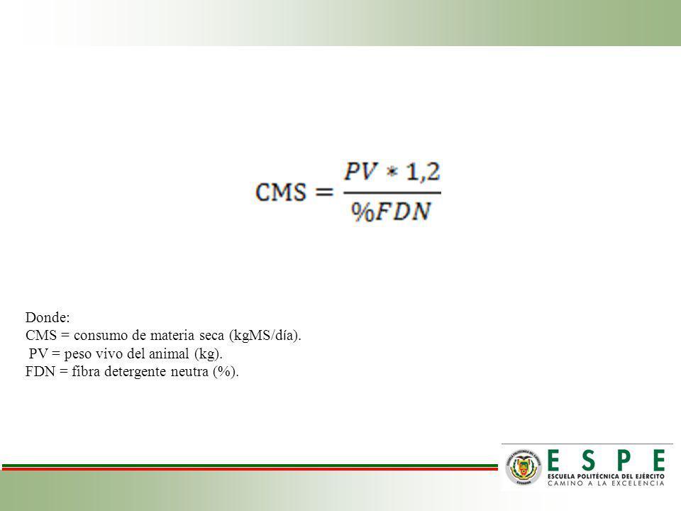 Donde: CMS = consumo de materia seca (kgMS/día). PV = peso vivo del animal (kg).