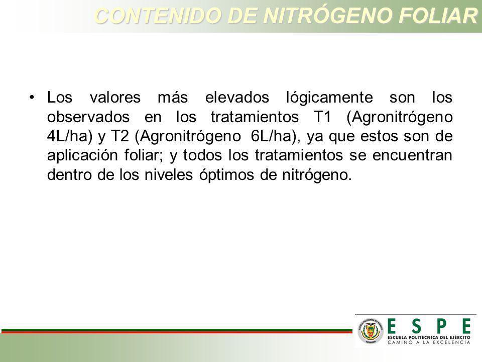CONTENIDO DE NITRÓGENO FOLIAR