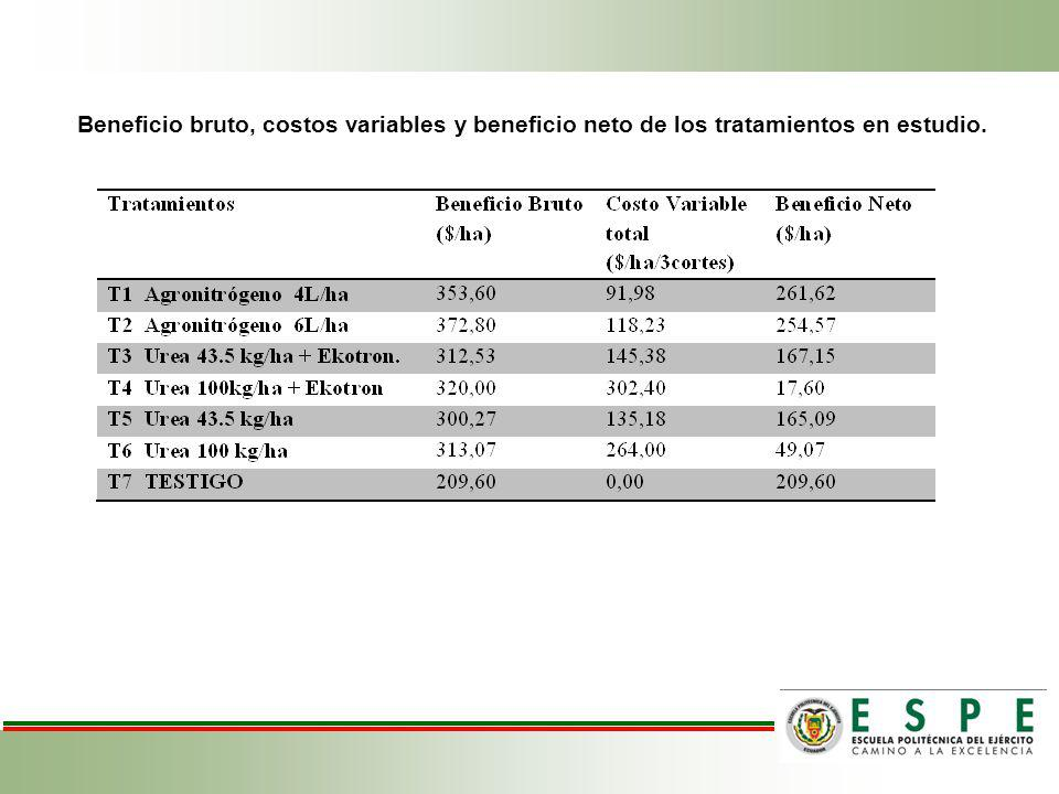 Beneficio bruto, costos variables y beneficio neto de los tratamientos en estudio.