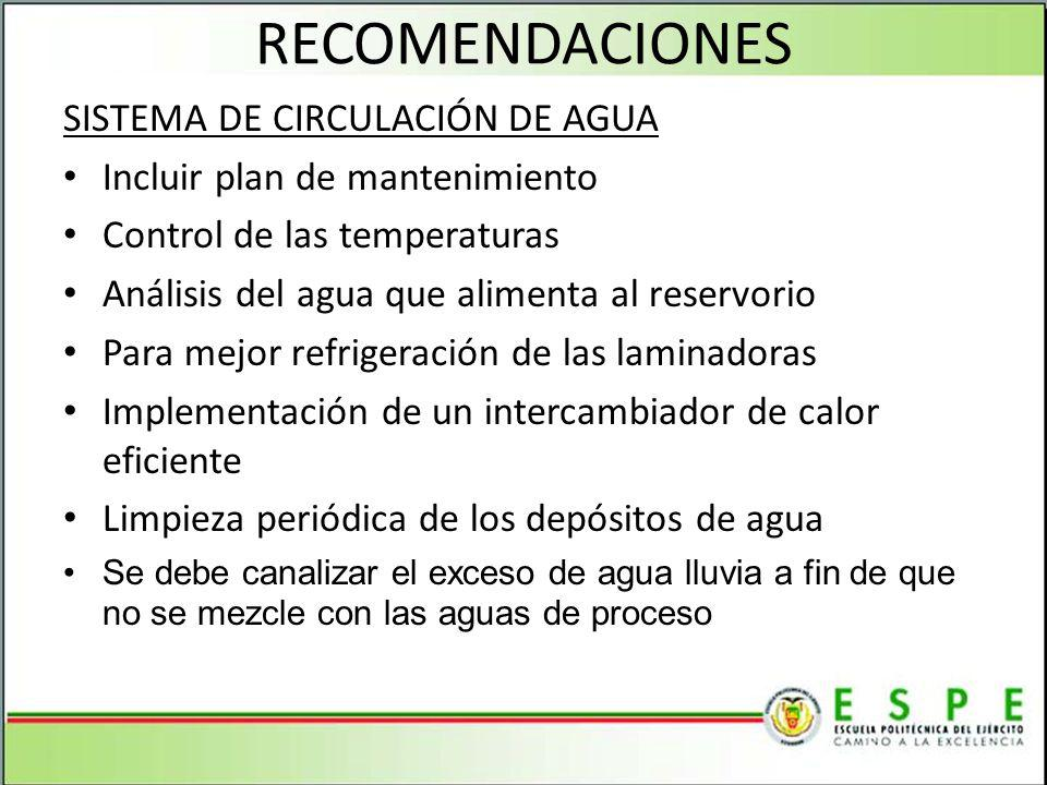 RECOMENDACIONES SISTEMA DE CIRCULACIÓN DE AGUA