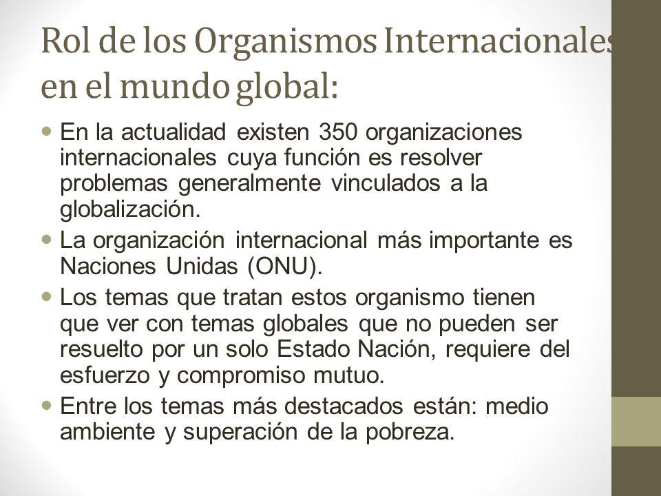 Rol de los Organismos Internacionales en el mundo global:
