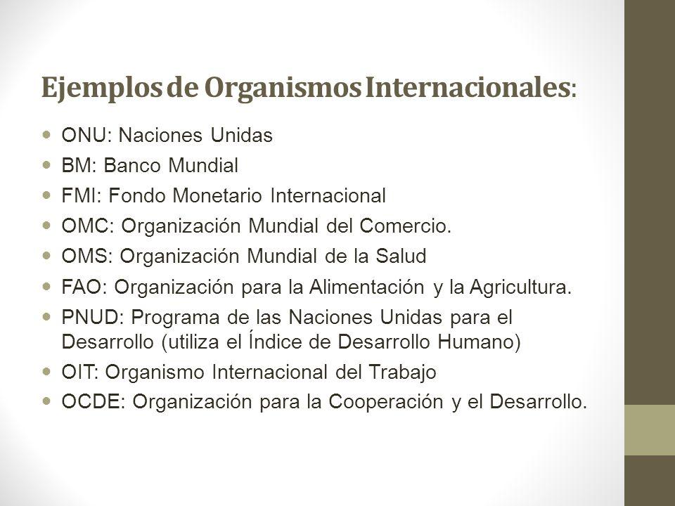Ejemplos de Organismos Internacionales: